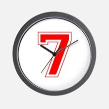 Varsity Font Number 7 Red Wall Clock