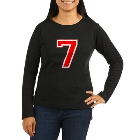 Varsity Font Number 7 Red Women's Long Sleeve Dark
