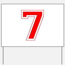 Varsity Font Number 7 Red Yard Sign