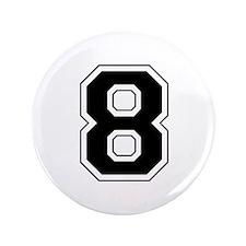 """Varsity Font Number 8 Black 3.5"""" Button"""