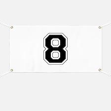 Varsity Font Number 8 Black Banner