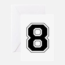 Varsity Font Number 8 Black Greeting Card