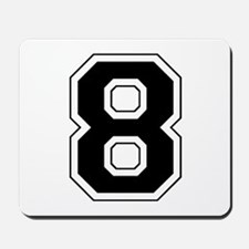 Varsity Font Number 8 Black Mousepad