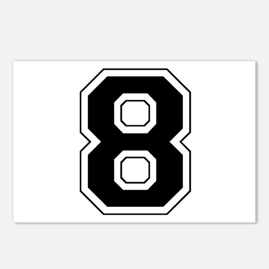 Varsity Font Number 8 Black Postcards (Package of