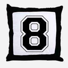 Varsity Font Number 8 Black Throw Pillow