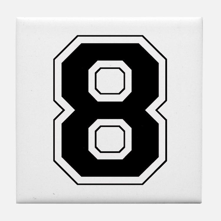 Varsity Font Number 8 Black Tile Coaster
