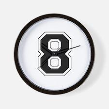 Varsity Font Number 8 Black Wall Clock