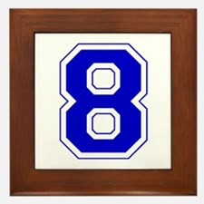 Varsity Font Number 8 Blue Framed Tile