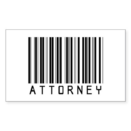 Attorney Barcode Rectangle Sticker
