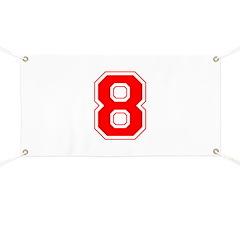 Varsity Font Number 8 Red Banner