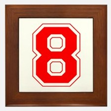 Varsity Font Number 8 Red Framed Tile