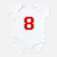 Varsity Font Number 8 Red Infant Bodysuit