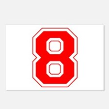 Varsity Font Number 8 Red Postcards (Package of 8)