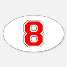 Varsity Font Number 8 Red Oval Decal