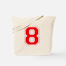 Varsity Font Number 8 Red Tote Bag