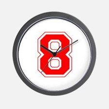 Varsity Font Number 8 Red Wall Clock