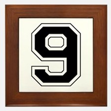 Varsity Font Number 9 Black Framed Tile