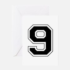 Varsity Font Number 9 Black Greeting Card
