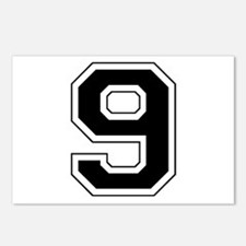 Varsity Font Number 9 Black Postcards (Package of