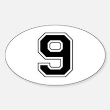 Varsity Font Number 9 Black Oval Decal