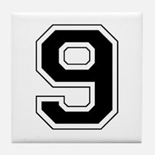 Varsity Font Number 9 Black Tile Coaster
