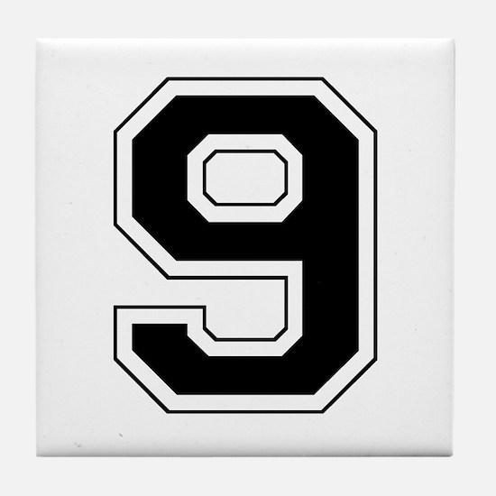 Varsity Font Number 9 Black Tile Coaster