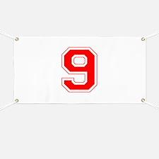Varsity Font Number 9 Red Banner