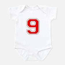 Varsity Font Number 9 Red Infant Bodysuit