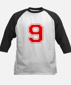 Varsity Font Number 9 Red Tee