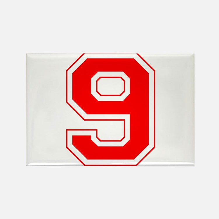 Varsity Font Number 9 Red Rectangle Magnet