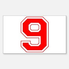 Varsity Font Number 9 Red Rectangle Decal
