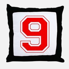 Varsity Font Number 9 Red Throw Pillow