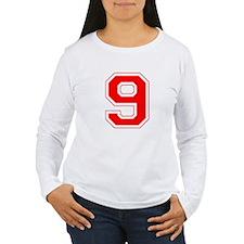 Varsity Font Number 9 Red T-Shirt