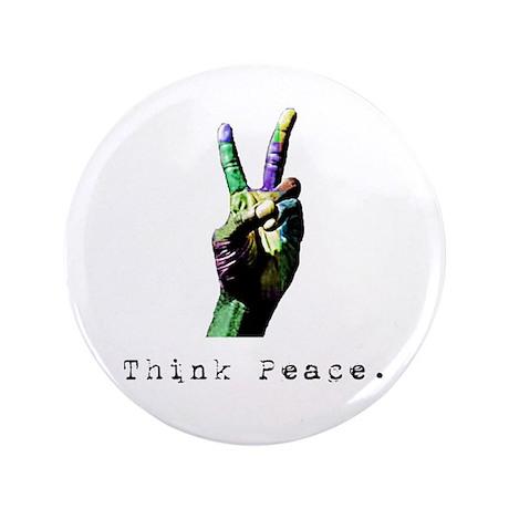 "Riyah-Li Designs Think Peace 3.5"" Button"