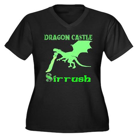 Dragon Castle Women's Plus Size V-Neck Dark T-Shir