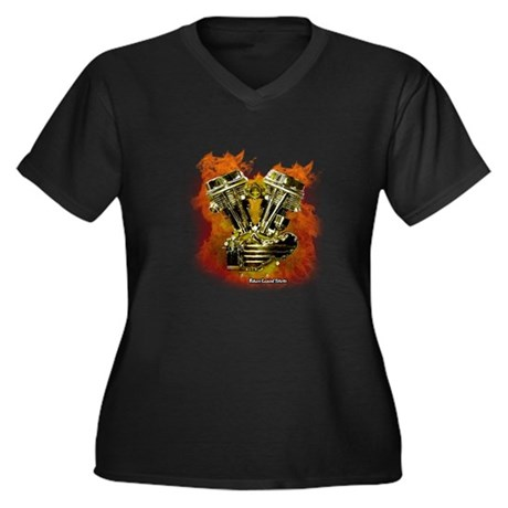 Panhead For Ever Women's Plus Size V-Neck Dark T-S