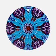 Indian Blue and Red Kaleidoscope Ornament (Round)