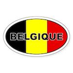 Belgian Flag Oval Sticker