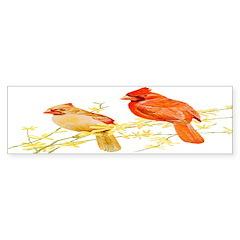 Red Cardinal Bird Bumper Sticker (50 pk)
