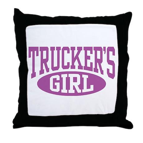 Trucker's Girl Throw Pillow