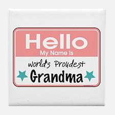 Hello Proud Grandma Tile Coaster