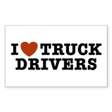 I Love Truck Drivers Rectangle Decal