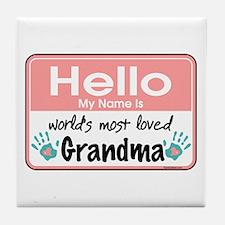 Hello Loved Grandma Tile Coaster
