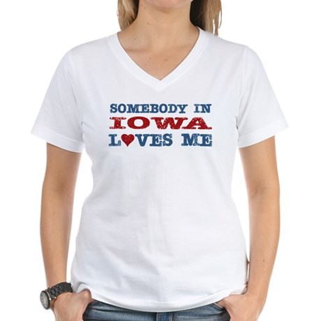 Somebody in Iowa Loves Me Women's V-Neck T-Shirt