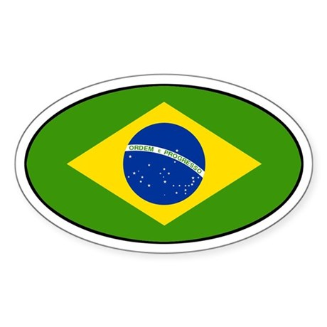Brazilian Flag Oval Sticker