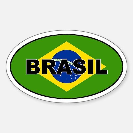 Brasil Flag Oval Decal