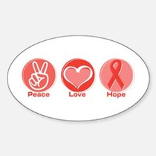 Peace Red Hope Oval Decal