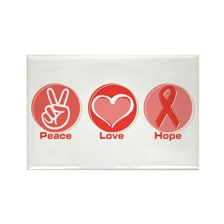 Peace Red Hope Rectangle Magnet