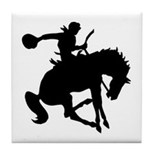 Bucking Bronc Cowboy Tile Coaster