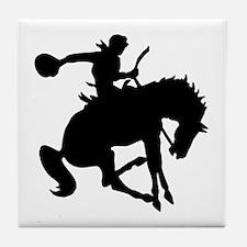 Bucking Bronc Cowboy Tile Coaster